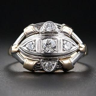 Mid-Century Two-Tone Diamond Ring  - 1