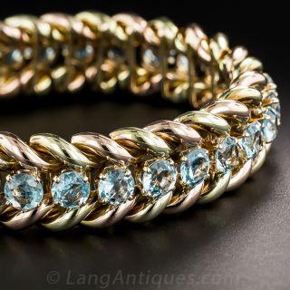 Mid-Century Two-Tone Gold Aquamarine Bracelet