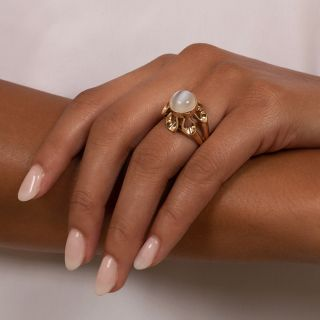 Mid-Century Vintage Cat's-Eye Moonstone Ring