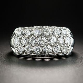 Mid-Century Wide Platinum Diamond Band