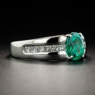 Modern 1.01 Carat Emerald Platinum Diamond Ring