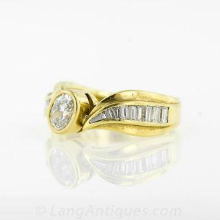 Modern .40 Carat Oval Diamond Ring