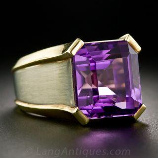 Modern Amethyst Two-Tone Ring