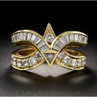 Modern Diamond and 18 Karat Yellow Gold Ring - 1