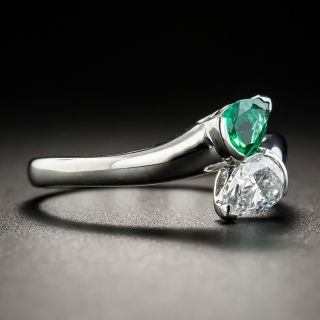 Modern Emerald and Diamond Platinum Bypass Ring