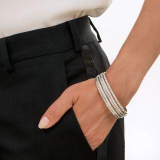 Modern Five Row Diamond Bangle Bracelet