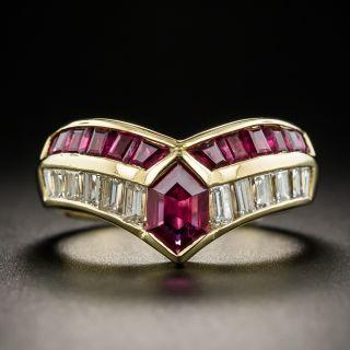 Modern Hexagonal Ruby Diamond Ring - 1