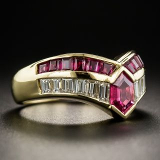 Modern Hexagonal Ruby Diamond Ring