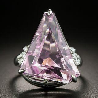 Modern Kunzite Platinum Diamond Ring - 1