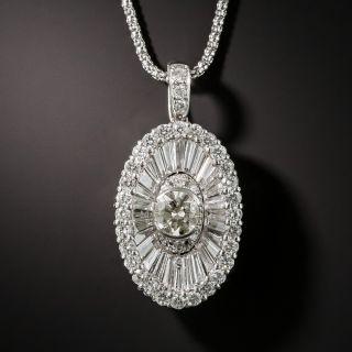 Modern Oval Platinum Diamond Pendant - 1