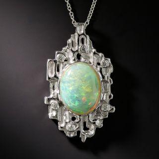Modern Platinum Opal Diamond Pendant - 1