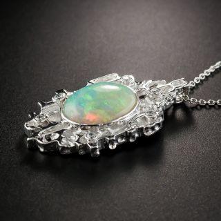 Modern Platinum Opal Diamond Pendant