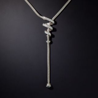 Modern Snake Chain and Diamond Necklace - 0