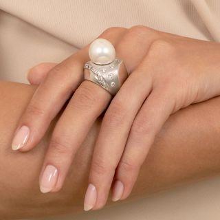 Modern South Sea Pearl And Diamond Ring
