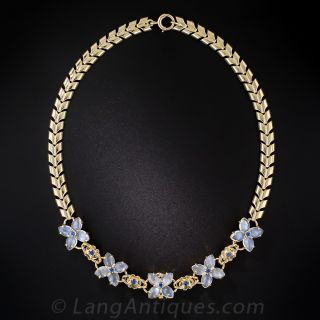 Moonstone and Sapphire Floral Necklace