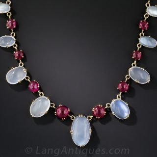 Moonstone and Synthetic Ruby Necklace