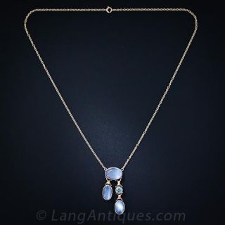 Moonstone and Zircon Negligee Necklace