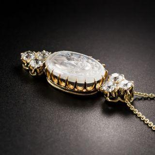 Moonstone Cameo and Diamond Pendant