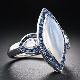 Moonstone, Sapphire and Diamond Ring