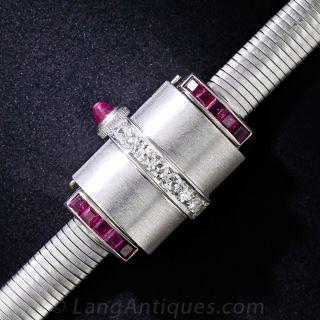 Movado Platinum, Ruby and Diamond Retro Cover Watch - 1