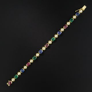 Multi-Color Cabochon Gemstone and Diamond Bracelet - 3