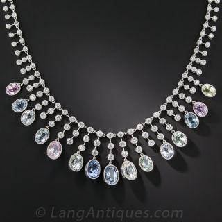 Multi-Color Natural No-Heat Sapphire and Diamond Necklace - 2