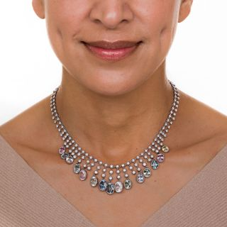 Multi-Color Natural No-Heat Sapphire and Diamond Necklace