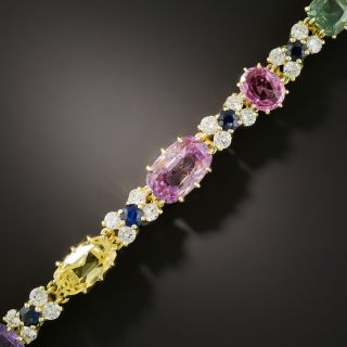 Multi-Color No-Heat Sapphire and Diamond Bracelet - 0