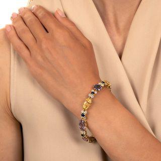 Multi-Color No-Heat Sapphire and Diamond Bracelet