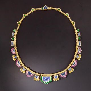 Multi-Color Sapphire Necklace  - 1