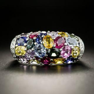 Multi-Colored Sapphire and Diamond Saddle Ring - 2