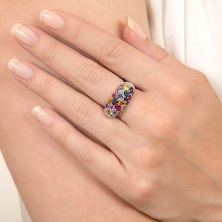 Multi-Colored Sapphire and Diamond Saddle Ring