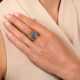 Multi-Colored Sapphire Cluster Ring