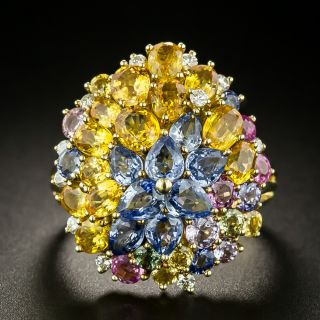 Multi-Colored Sapphire Cluster Ring - 2