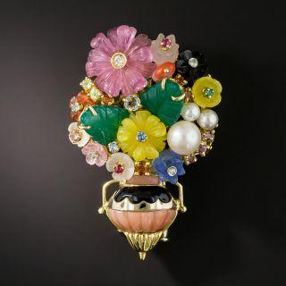 Multi-Gem Stone Flower Basket Brooch/Pendent by Gioielli Stanagostino - 1