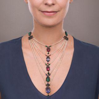 Multi-Gemstone Egyptian Revival Scarab Necklace c.1906