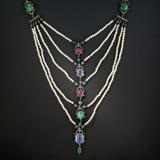 Multi-Gemstone Egyptian Revival Scarab Necklace c.1906 - 3