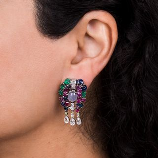 Multi-Stone and Diamond 'Tutti Frutti' Earrings - Art Deco