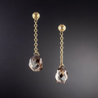 Natural Brown 2.34 Carats Diamond Briolette Earrings - 1