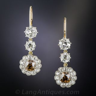 Natural Brown and White Diamond Vintage Cluster Earrings - 1