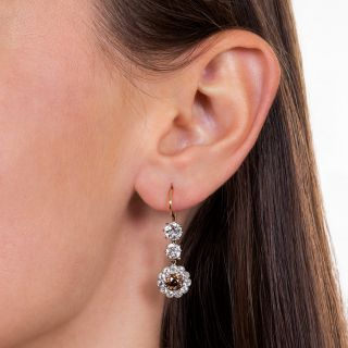 Natural Brown and White Diamond Vintage Cluster Earrings