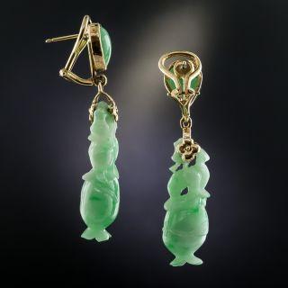 Natural Burma Carved Jadeite Flower Vase Drop Earrings