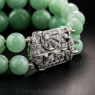 Art Deco Natural Burma Jade Bead Bracelet with Platinum Diamond Clasp - 1