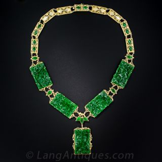 Natural Burma Jade Carved Panel Necklace - 1