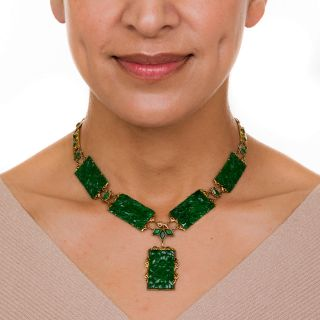 Natural Burma Jade Carved Panel Necklace