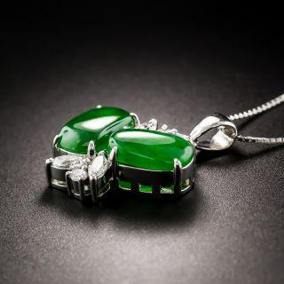Natural Burma Jade Platinum and Diamond Drop