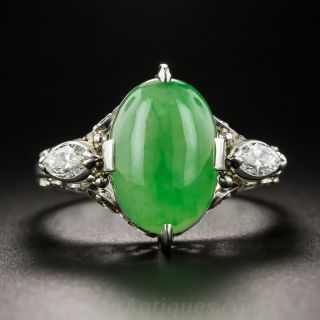 Natural Burma Jade, Platinum and Diamond Ring