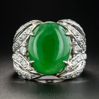 Natural Burma Jade Platinum and Diamond Ring - 1
