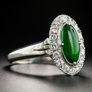 Natural Burma Jade Platinum and Diamond Ring