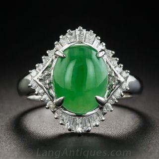 Natural Burma Jade Platinum Diamond Ring